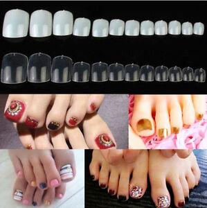 500 Pcs Plastic False Fake Artificial Toe Nails Tips For Nail Art