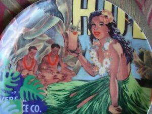 Vintage Plate Hawaiian Hula Girl At Luau Plate Tiki
