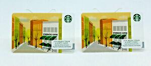 Starbucks Coffee 2012 Gift Card City Storefront Tree Bike Zero Balance Set of 2
