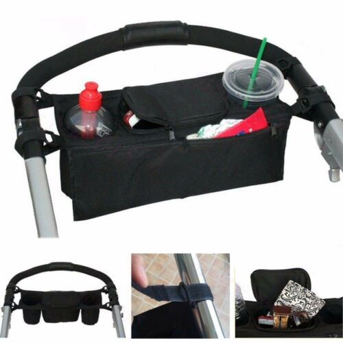 NEW BLACK QUINNY Baby Child Stroller Cup Holder Organizer Wet Wipes Diaper Phone