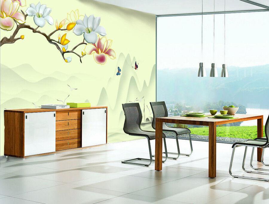 3D Flowers Butterfly 88 Wallpaper Mural Paper Wall Print Wallpaper Murals UK