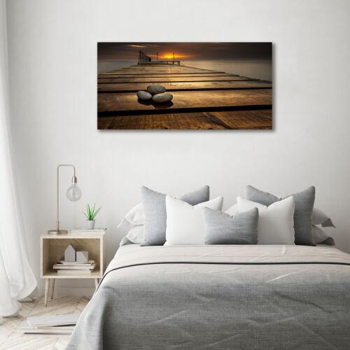 Glas-Bild Wandbilder Druck auf Glas 140x70 Deko Landschaften Hölzerner Pier
