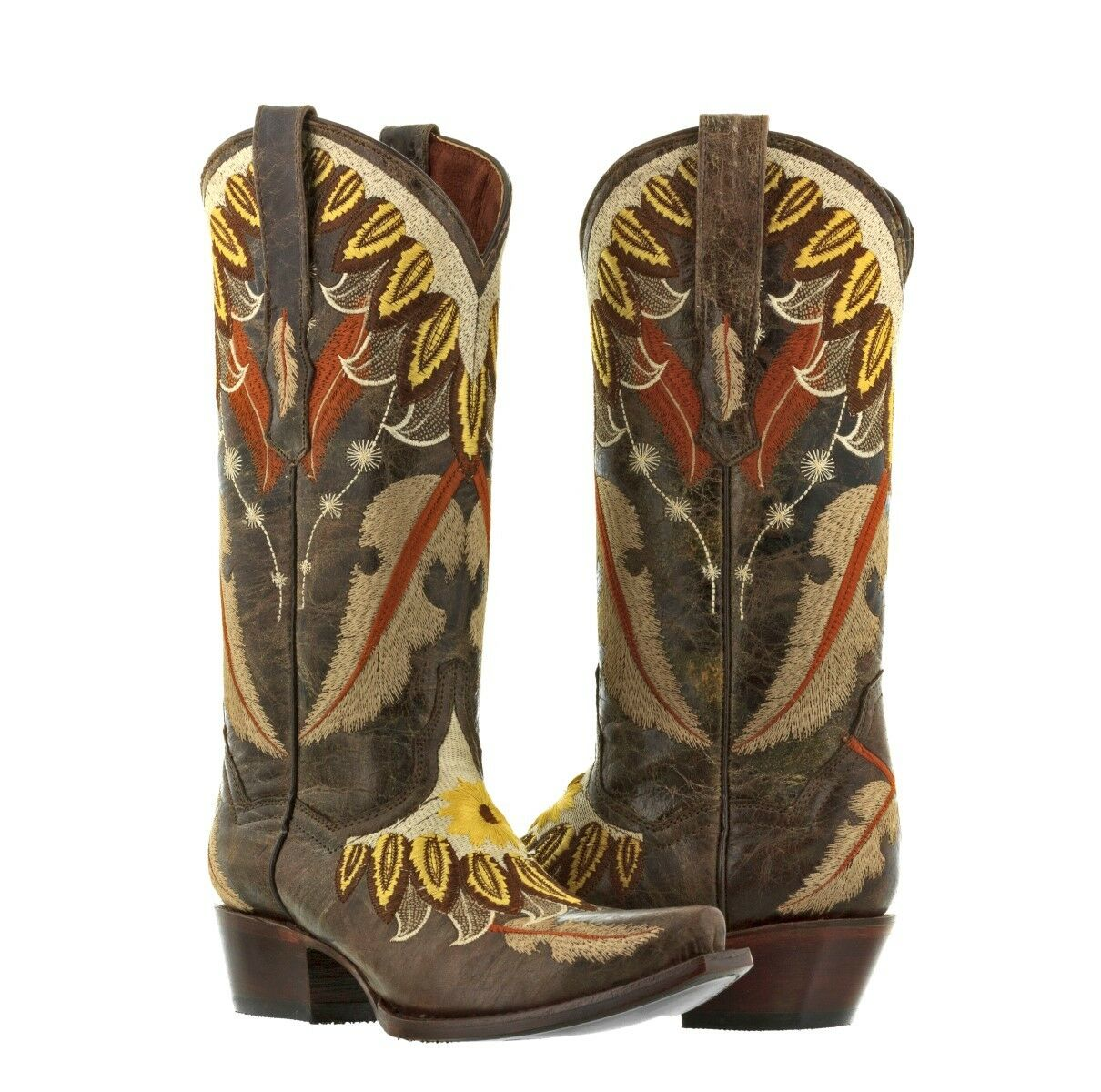femmes marron Embroidery Feathers Cowgirl bottes Casual Western Wear Snip Toe