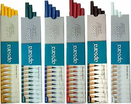 Pencils Set The Lovely Creations Apsara Wax Based Glass Marking 6 Colour