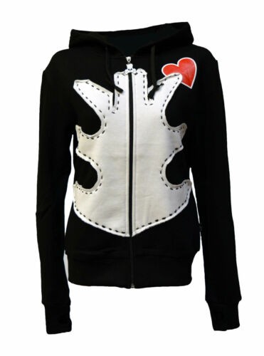 BNWT Death Kitty Ribs//Ribcage//Bones//Red Heart Hoodie//Hood Top Goth//Punk//Emo S//M