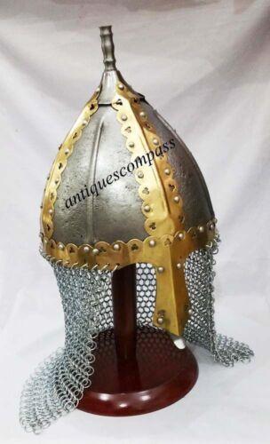 Wikingerhelm mit Kettenhemd Mittelalterlicher normannischer Ritterkampfschutzanz