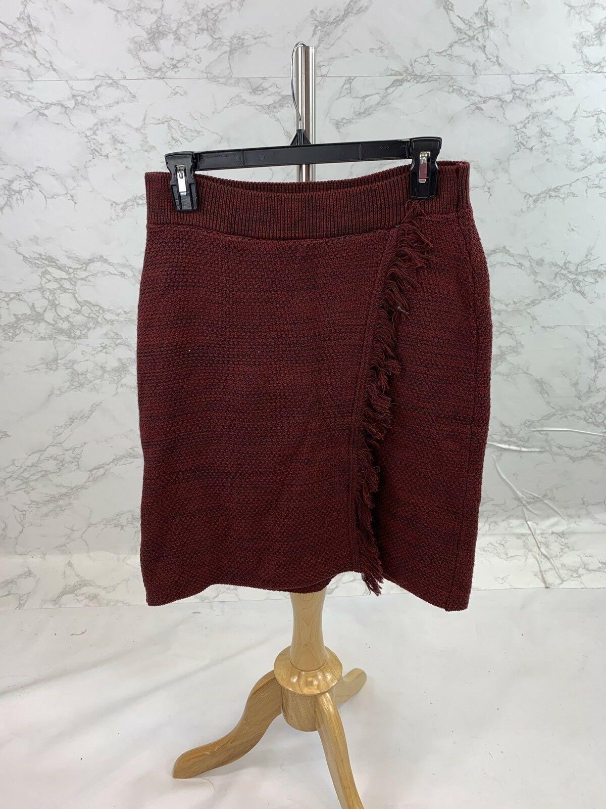 Anthropologie Maeve Womens Maroon Knitted Skirt Sz Medium