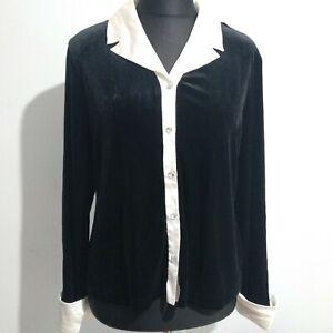 Ronni Nicole schwarz Samt und weißer Borte Shirt Größe 16 Strass Knöpfe von Quida