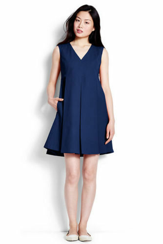 Lands' End Blau Cotton Stretch Pique Empire Pleats Pockets Social Dress 2