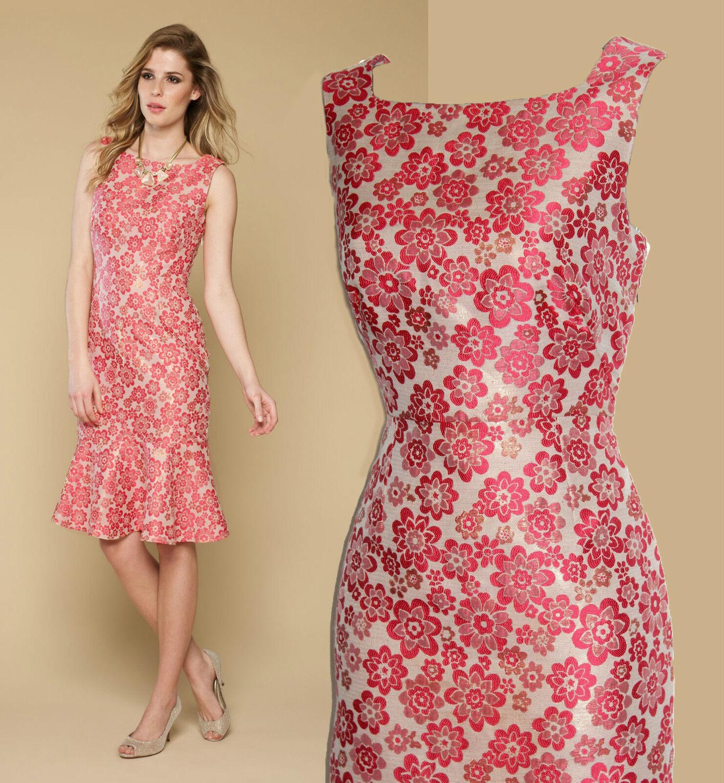 MONSOON Rosa Carnation Style Open Back Jacquard Shimmering Flattering Dress UK10