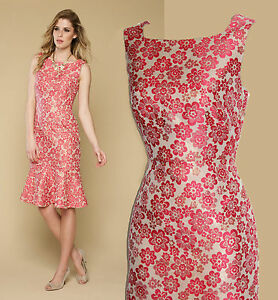 jacquard rose dos style robe Uk10 ouvert chatoyante Mousson carnation flatteuse dXAqxwtqg
