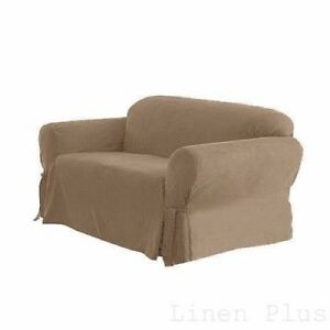 Image Is Loading Beige Soft Micro Suede Couch Sofa Slip Cover