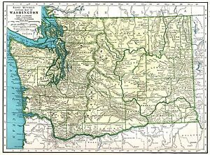 Details about 1942 Antique WASHINGTON Map of Washington State Map Gallery  Wall Art 6791