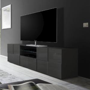 Mobile Porta Tv Grigio.Dettagli Su Mobile Porta Tv Cassetto Bianco Grigio Lucido Rovere Design Moderno Dame 02