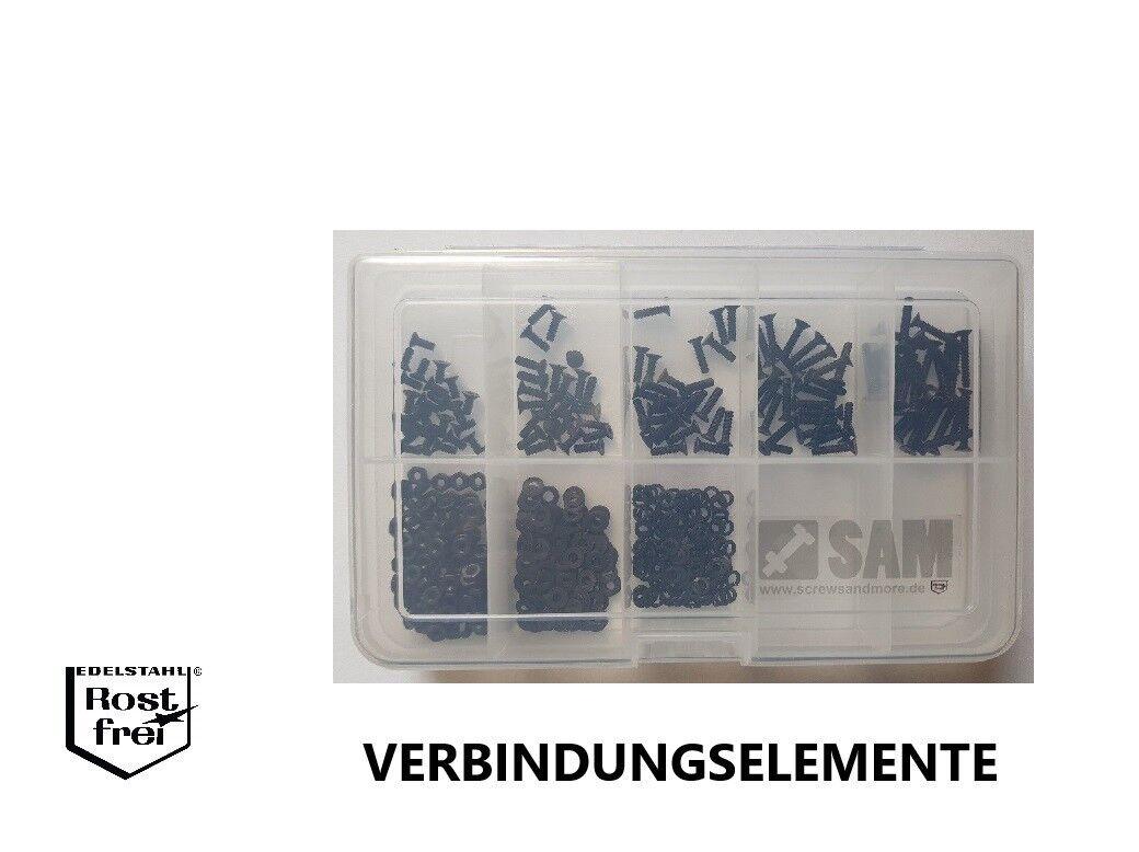 DIN 7991 mit Senkkopf Sortiment Set 500 Teile black EDELSTAHL A2 M2,5