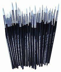 Major Brush Pack Of 50 Artist Synthetic Sable Paint Brushes Various Sizes School