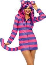 Cheshire Cat Cozy Women Costume Striped Zipper Front Fleece Dress Hood & Tail L