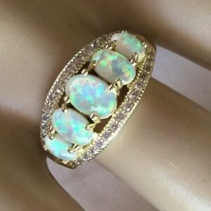 Art-Deco-Vintage-Jewellery-Gold-Ring-with-Opals-White-Sapphires-Antique-Jewelry