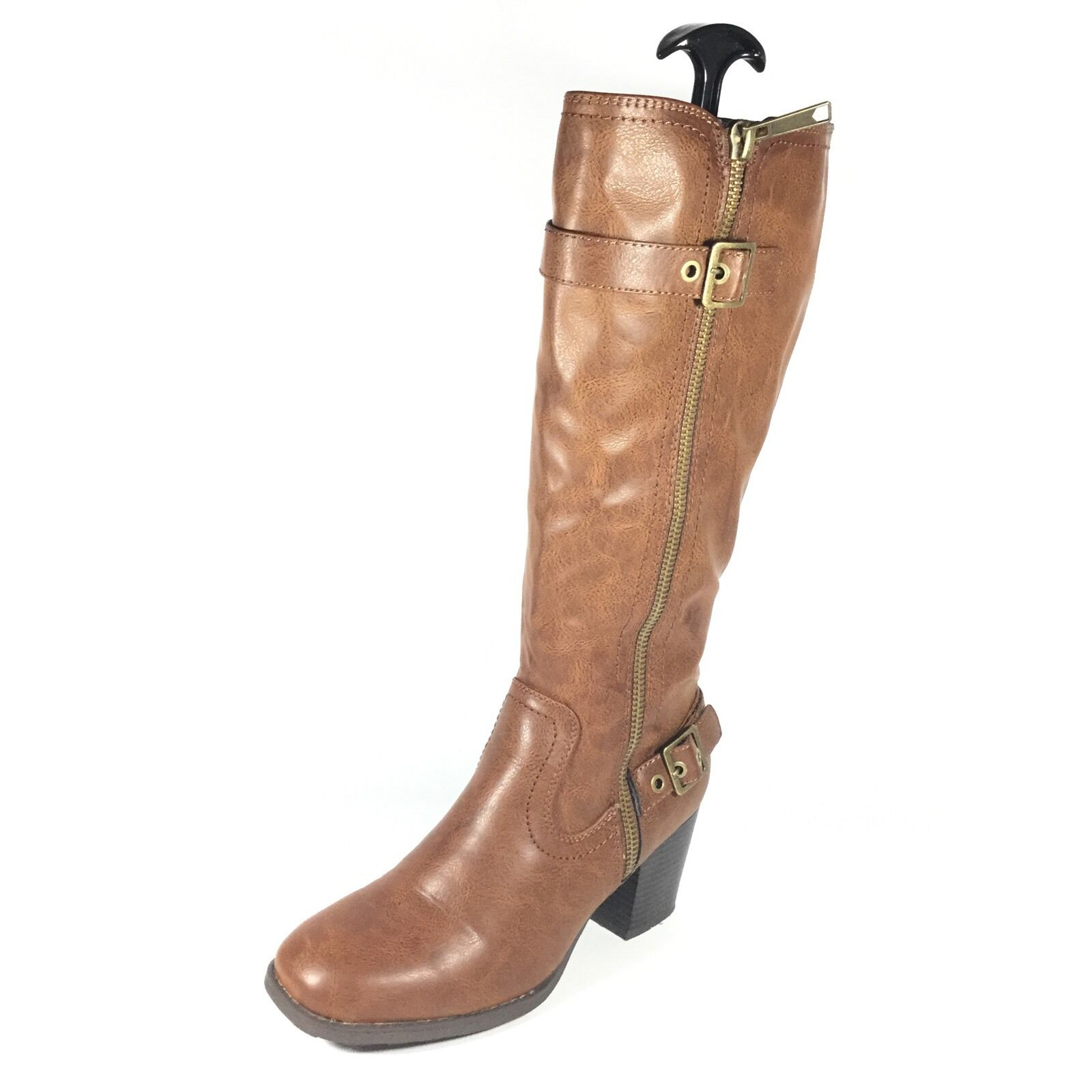 White Mountain Dover Women's Size 9.5 M Cognac Tumbled Smooth Heel Boots.