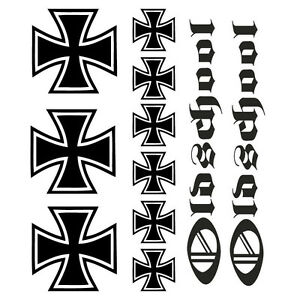 iron cross aufkleber folie tattoo tuning eisernes kreuz. Black Bedroom Furniture Sets. Home Design Ideas