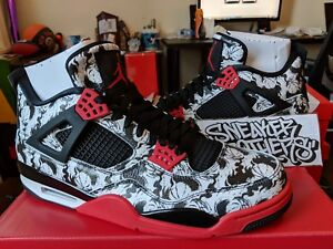 d60958520127 Nike Air Jordan Retro IV 4 Singles Day Tattoo Black Fire Red White ...