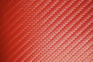 Carbon Fiber Marine Vinyl Fabric Fire Red Outdoor Automotive