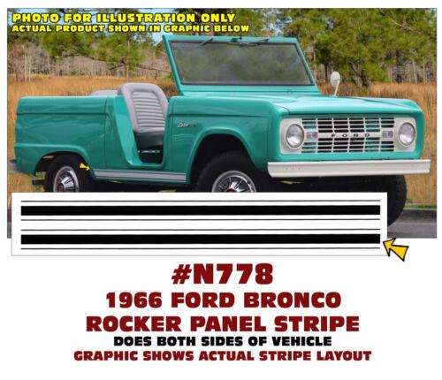 FACTORY SIZE DECAL N778 1966 FORD BRONCO ROCKER PANEL STRIPE KIT
