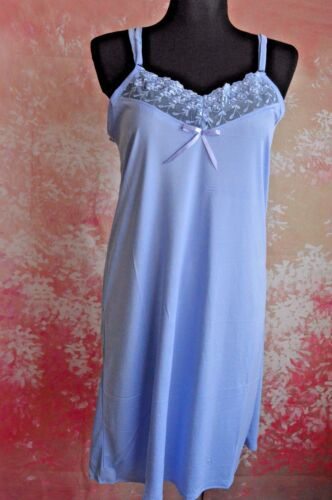 Ladies soft Long Nightdress Nightie Deep Lace front lace Size UK8-UK18