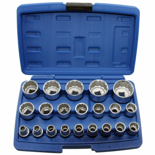 """Steckschlüsseleinsätze 12 kant 1//2/"""" VIELZAHN Nuss 8-36 mm Stecknuss Satz 21 tlg."""
