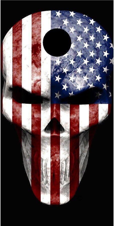 American flag skull Cornhole game decal wrap