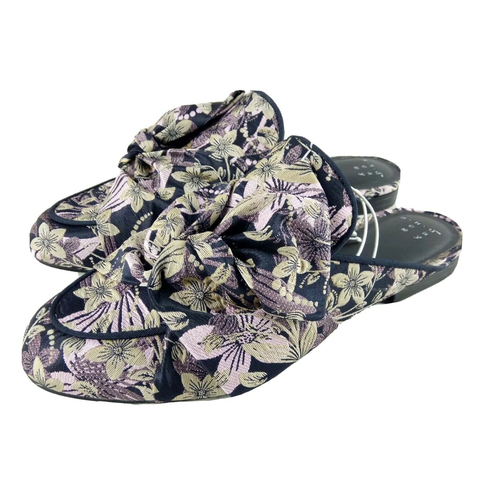 A New Day Holland Mules Purple Jacquard Floral Sandals
