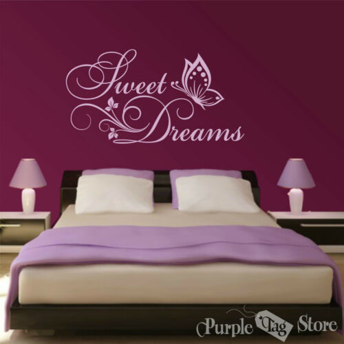 Sweet Dreams Butterflies Flowers Vinyl Art Home Wall Quote Decal Sticker Decor