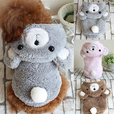 Dog Winter Plush Bear Hoodie Warm Jacket Coats Vest Sweater for Small Large Pet
