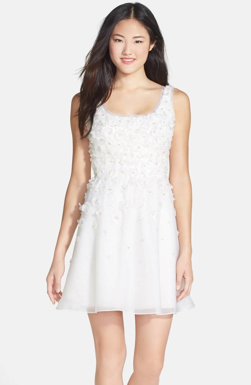 Ali Ro White Hand Pieced Silk Flower Organza Fit & Flare Dress Size 10 NWT  850