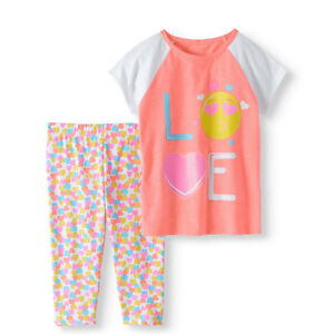 8a8022575 Details about Wonder Nation Girls' Raglan Graphic T-shirt and Capri Legging  2-Pc Outfit Set