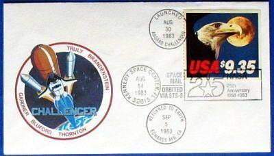 Usa Space Mail Sts-8 Flight Cover Aboard Challenger Folder Usa Minr 1648d Motive Briefmarken Realistisch S1131