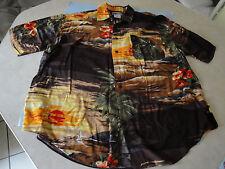 Men's Hawaiian Aloha Shirt Palms Rayon Large Korea