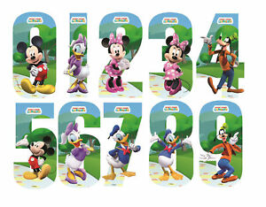 Dom i Meble Disney Minnie & Mickey Mouse Number Stickers Wall Wheely Wheelie Bin Decal Toys