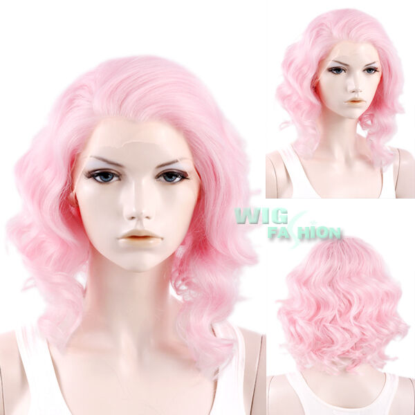 "11"" Short Pink Curly Lace Front Wig Heat Resistant"
