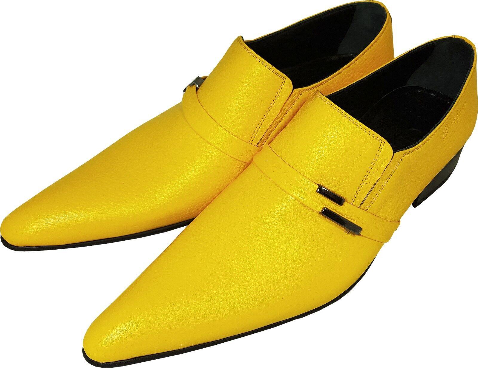 Chelsy más grandilocuente señores Slipper zapato de cuero amarillo amarillo suela de cuero 44