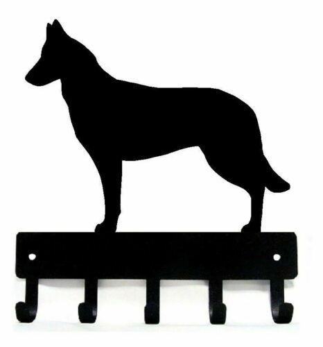 Made in US Belgian Malinois Key Rack// Dog Leash Hanger with 5 Hooks Small 6in