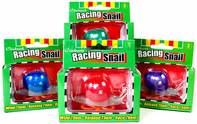 4 x Clockwork Motion Wind Up Race Racing  Snail Novelty Toy Game 08511