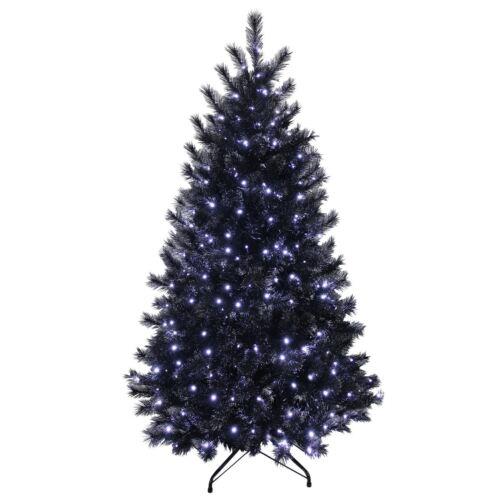 5ft 6ft 7ft Black Glitter Pine Artificial Pre-Lit LED Lights Christmas Xmas Tree