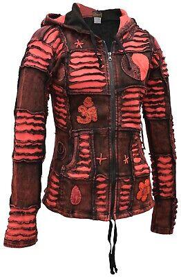 Damen Rot Stein Gewaschen Gothic Om Ying Yang Patchwork Kapuze Schnitt Jacke