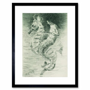 Painting-Church-Mermaid-Illustration-Framed-Print-12x16-Inch