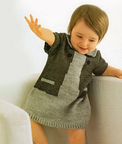 PO342 Knitting Pattern 3m-2yrs Baby//Girls Short Sleeved Dress 4 sizes