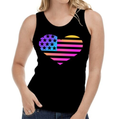 Velocitee Ladies Vest Neon USA Heart Flag Colourful Glow In The Dark Love W16956