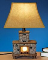 Fireplace Table Lamp Hand Painted Light Ceramic Shade Night Decor Cabin Rustic