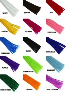 12-034-PLAIN-Chenille-PIPE-CLEANER-6MM-STEMS-Choose-Color-amp-Package-Amount