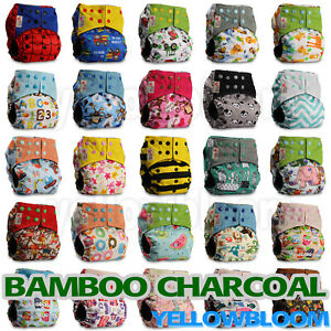 Washable-Baby-Pocket-Nappy-Cloth-Reusable-Diaper-BAMBOO-CHARCOAL-Cover-Wrap